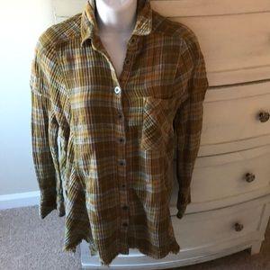Free People flannel plaid shirt Sz S